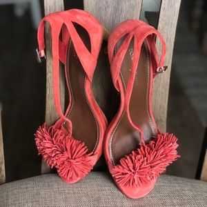Sandals fringe detail, suede burnt orange heels